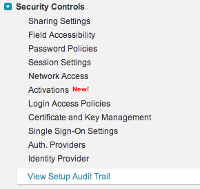 Setting up an audit trail in Salesforce